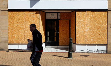 Boarded-up shop on the high street